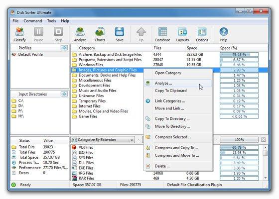 ملفات ويندوز, سعة الملفات على ويندوز, برنامج لمعرفة سعة الملفات على ويندوز, برنامج DiskSorter